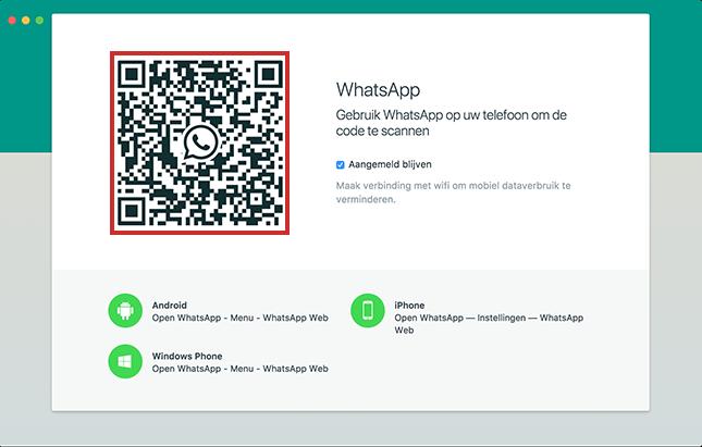 WhatsApp inloggen met QR-code