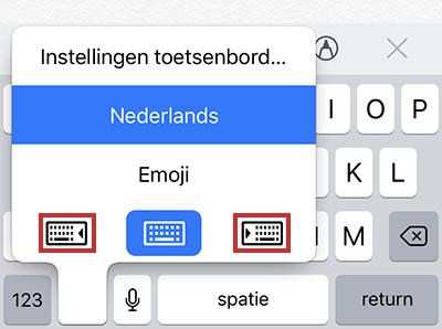 Weergave toetsenbord iPhone
