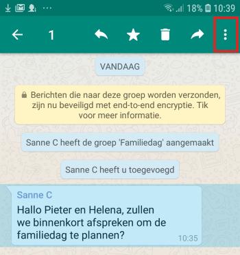 Privébericht versturen vanuit een WhatsApp-groepsgesprek in Android