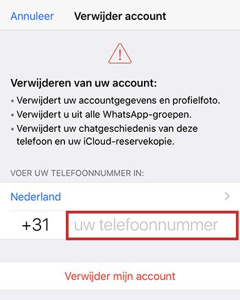 Telefoonnummer invoeren voor verwijderen WhatsApp-account