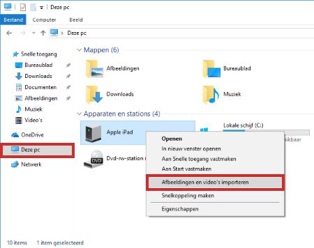 Afbeeldingen en foto's importeren van iPad naar Windows-computer