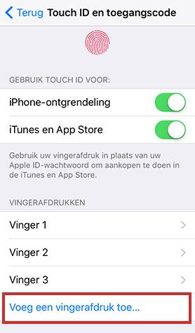 Vingerafdruk toevoegen aan Touch ID Apple