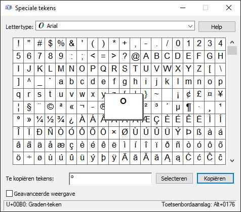 Gradenteken typen op Windows-computer met menu Speciale tekens