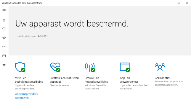 Windows Defender Beveiligingscentrum