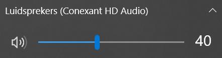 Het volume aanpassen via het Systeemvak