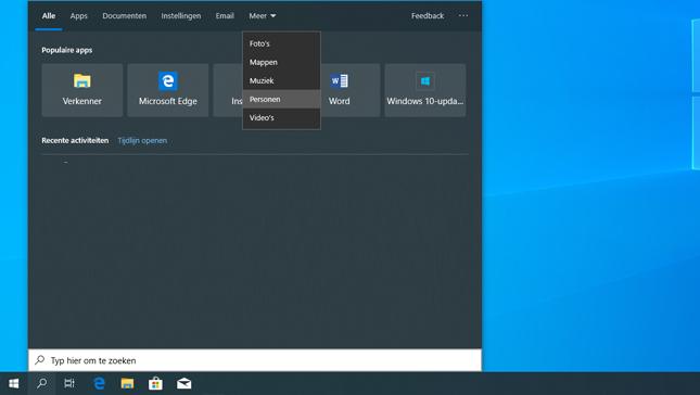 Zoekvenster Windows 10