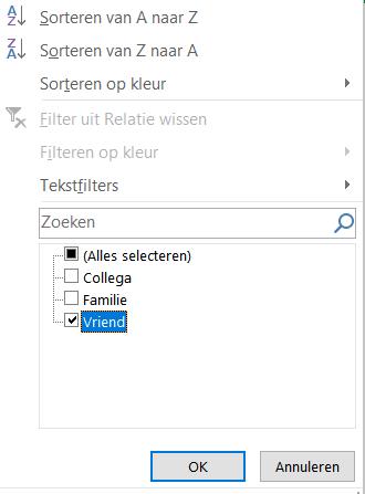 Filters gebruiken in Excel.