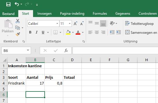 Voorbeeld van berekening maken in Excel