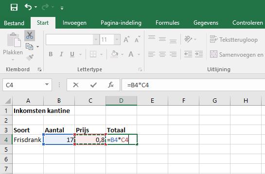 Berekening maken in Excel 2016