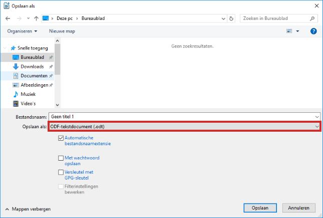 LibreOffice opslaan voor Microsoft-programma