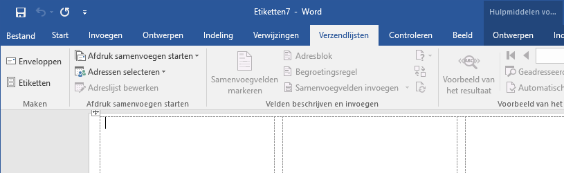 Etiketten maken in Word 2016