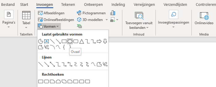 tekenen in word ovaal